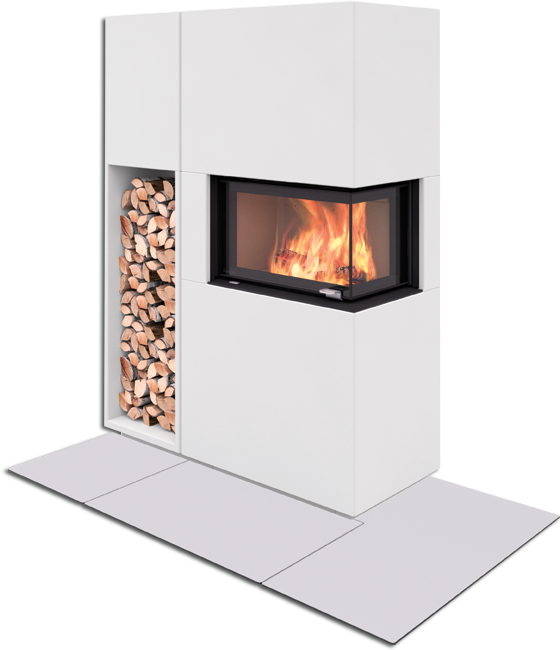 Pisa ist ein flexibler Kamin. Der Heizeinsatz verfügt über eine Doppelverglasung. Der Kamin hat ein integriertes Holzfach im Sockel.